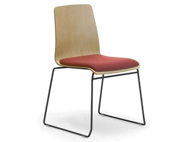 Sled base multi-layer wood chair with linking device with integrated cushion ZEROSEDICI WOOD | Chair with integrated cushion