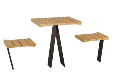 Square wooden Table for public areas with integrated seats ZETAPICNIC | Square Table for public areas