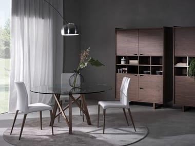 Tavolo rotondo in legno e vetro ZEUS | Tavolo rotondo