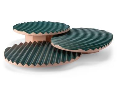 Contemporary style oval round ceramic tray ZIGZAG