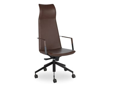 High-back leather executive chair with 5-spoke base ZONE   Leather executive chair