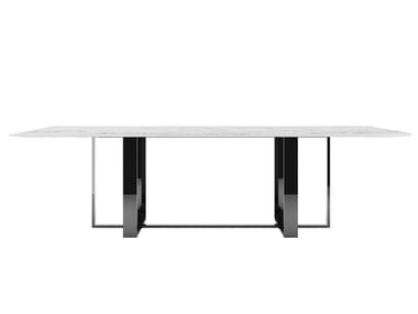 Rectangular marble and metal living room table ZULU | Marble table