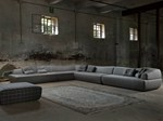 Sectional upholstered fabric sofa
