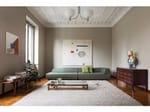 Upholstered fabric sofa