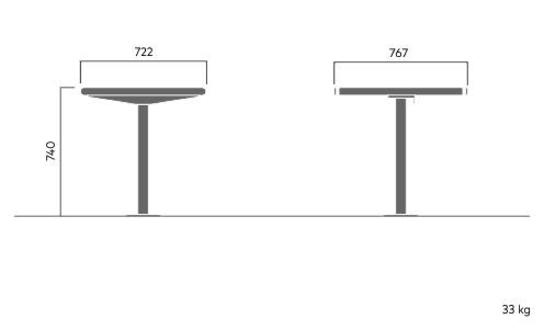734A April square table with footplate