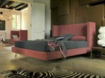 Double bed with high headboard