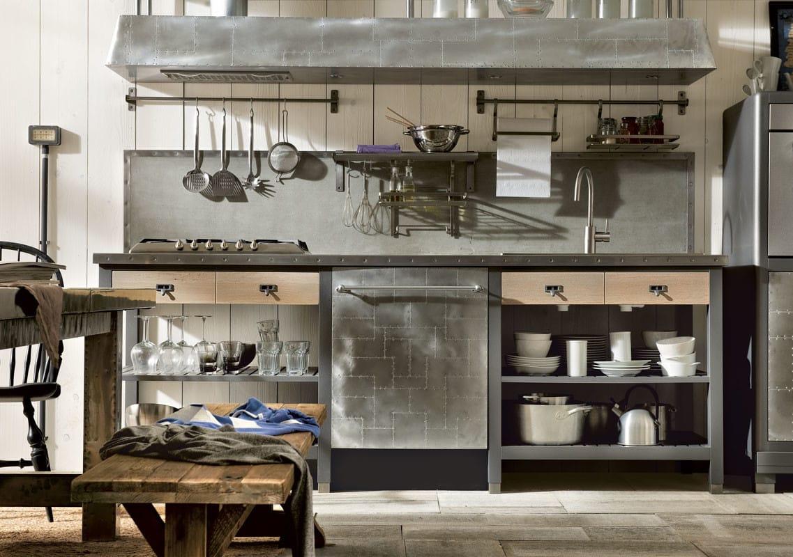 Cucina componibile in acciaio inox e legno 1956 - Marchi di cucine ...