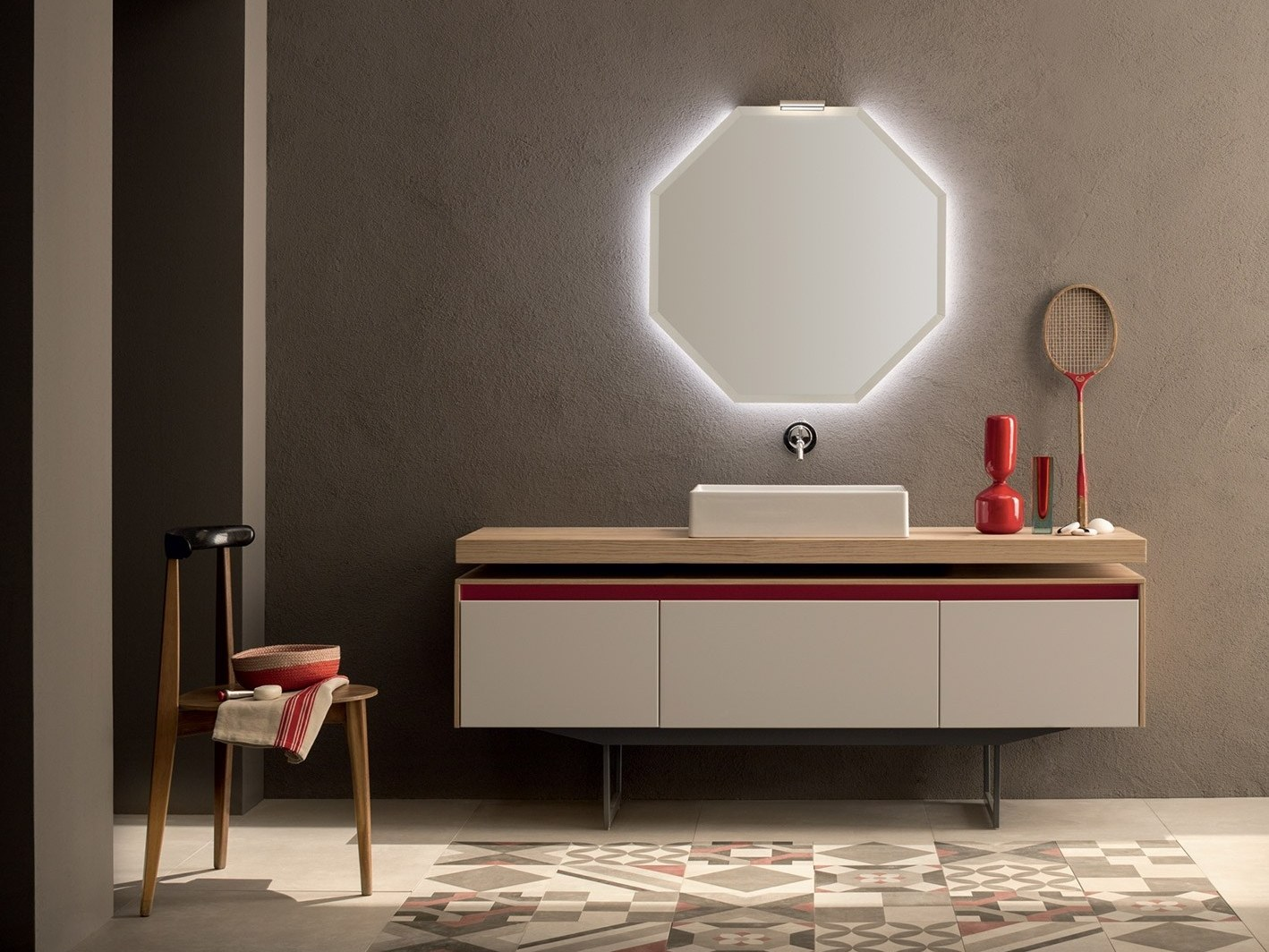Vanity unit with drawers 28 rovere nodato by rab arredobagno for Design moderno di mobili in legno massello