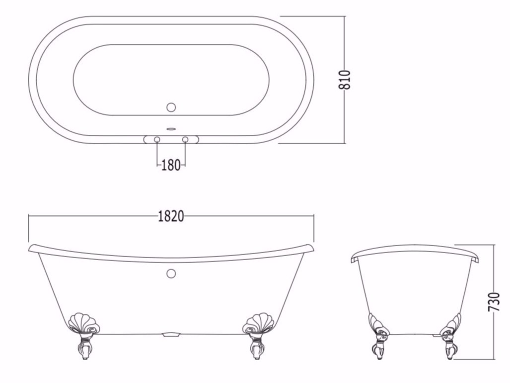 Cast iron bathtub on legs ADMIRAL By Devon&Devon