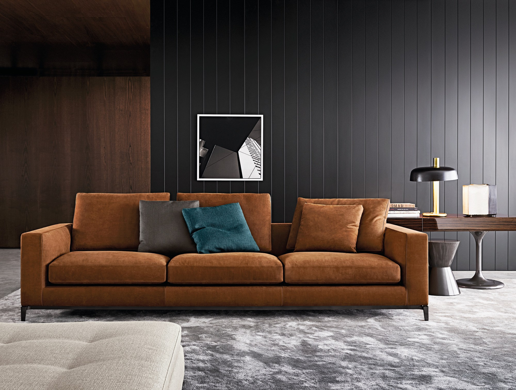 Minotti sofa andersen quilt refil sofa for Andersen leather chaise sectional