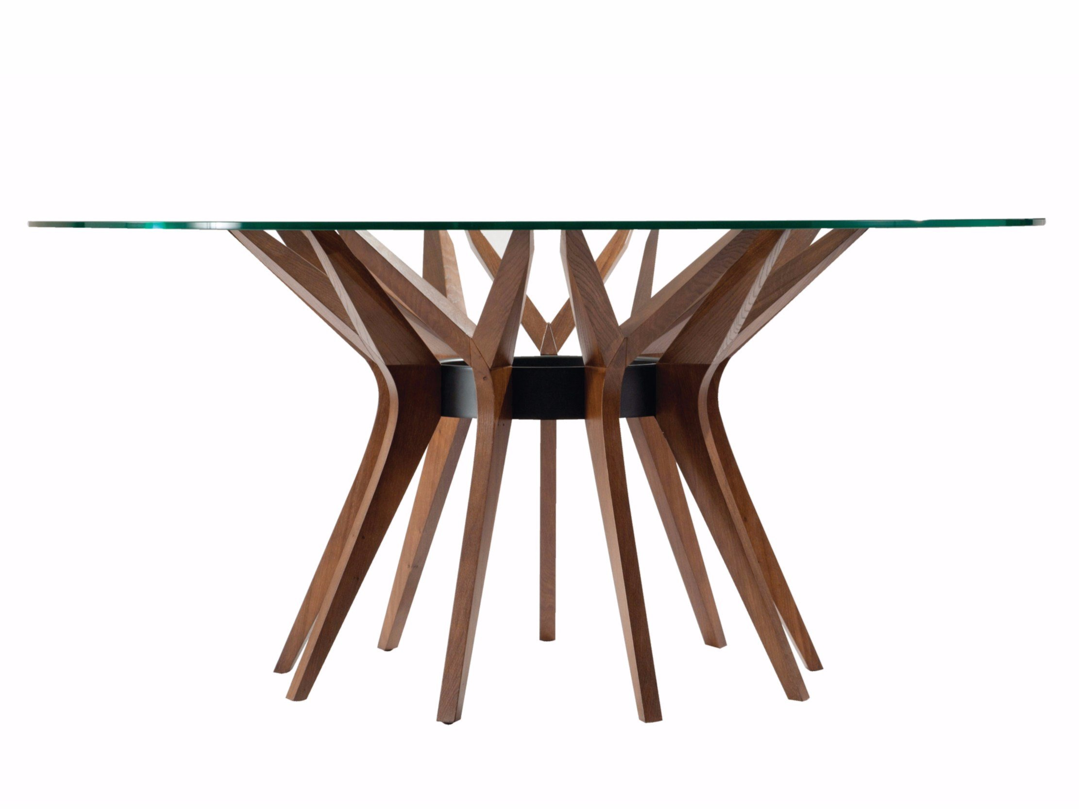 Round wood and glass table ASTER By ROCHE BOBOIS design Reda Amalou
