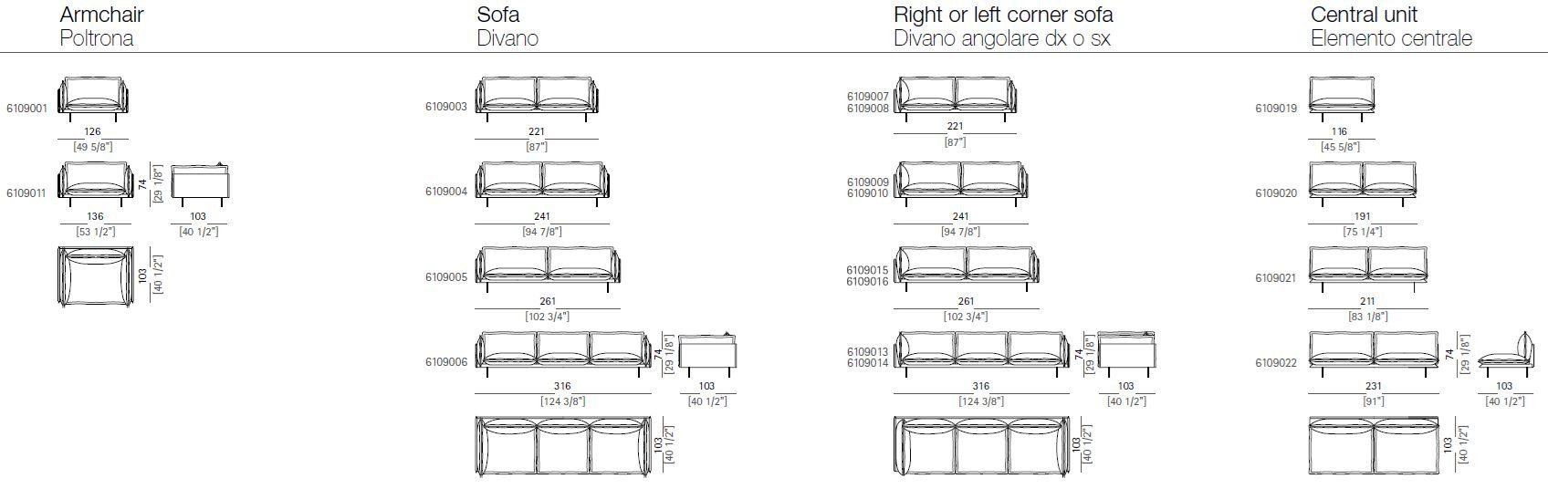 Dimensions AUTO REVERSE | Sectional Sofa ...