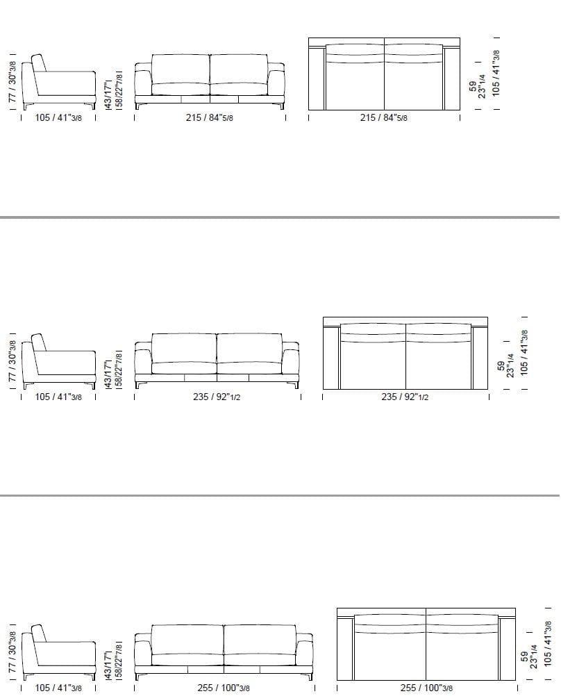 Divano 4 Posti Dimensioni.Ben Divano A 4 Posti Collezione Ben By Borzalino Design Carlo Bimbi