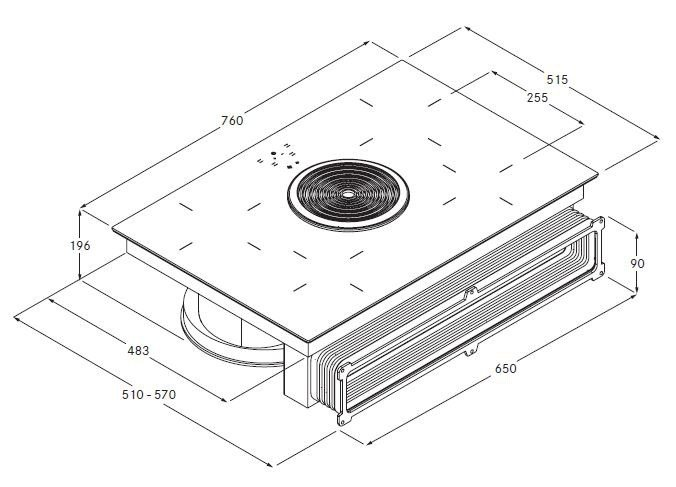 hyper glaskeramik kochfeld mit kochfeldabzug bhu by bora. Black Bedroom Furniture Sets. Home Design Ideas