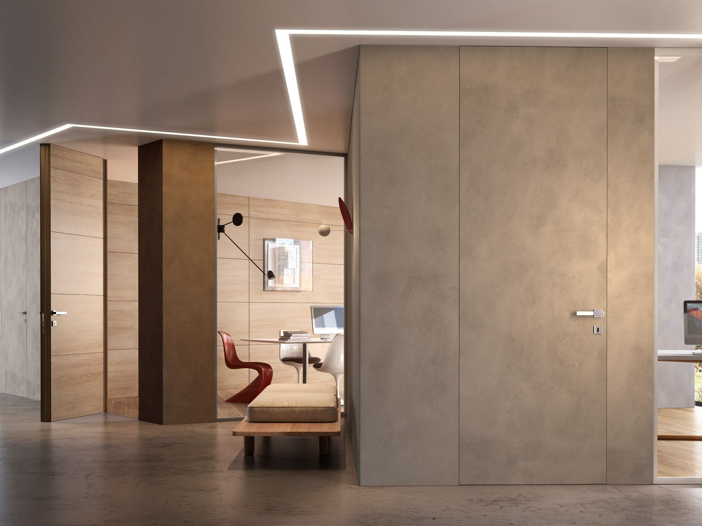 Hinged flush fitting door with concealed hinges bilato by for Gidea no limits