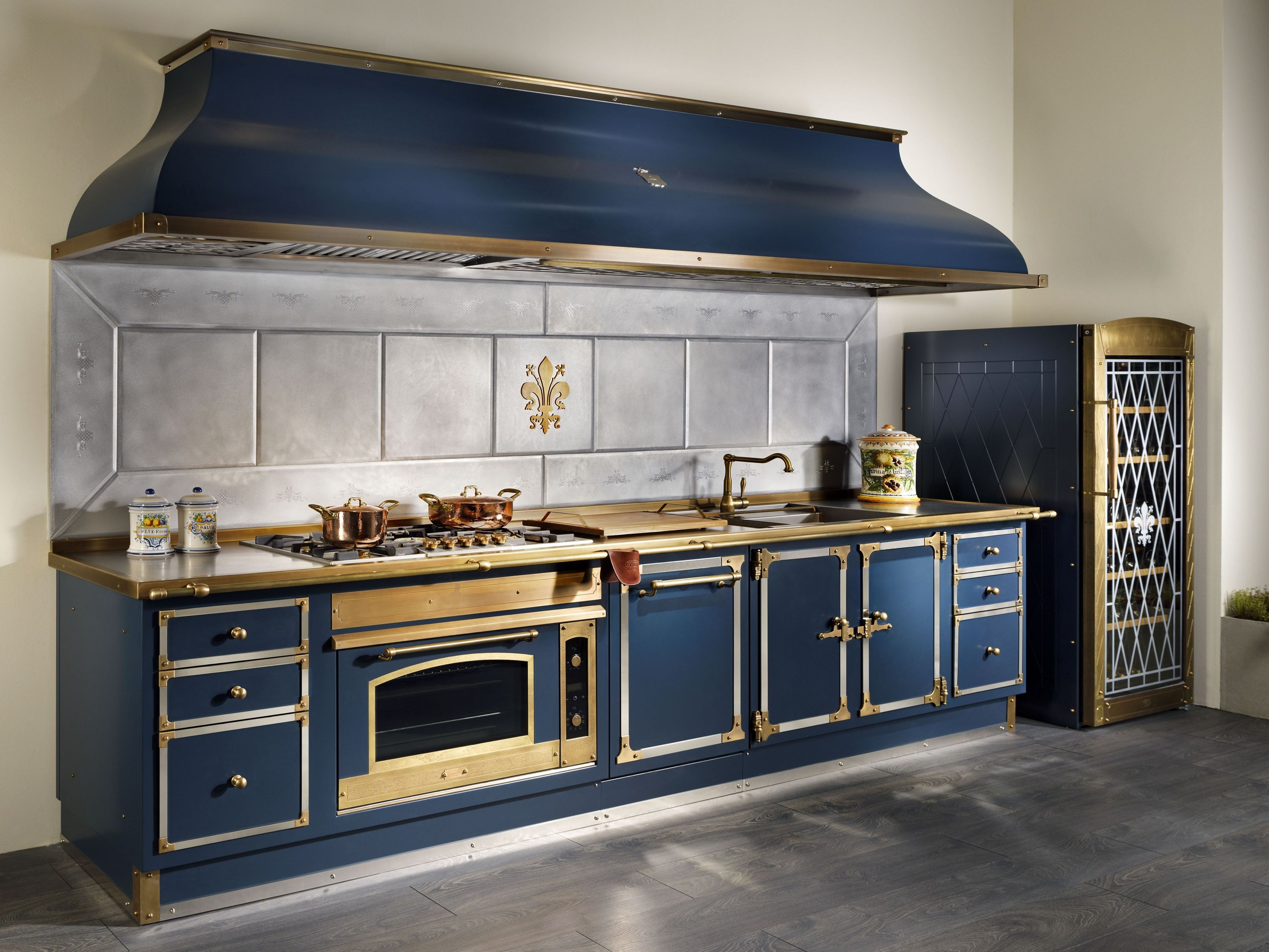 Linear Metal Kitchen Deep Blue By Officine Gullo