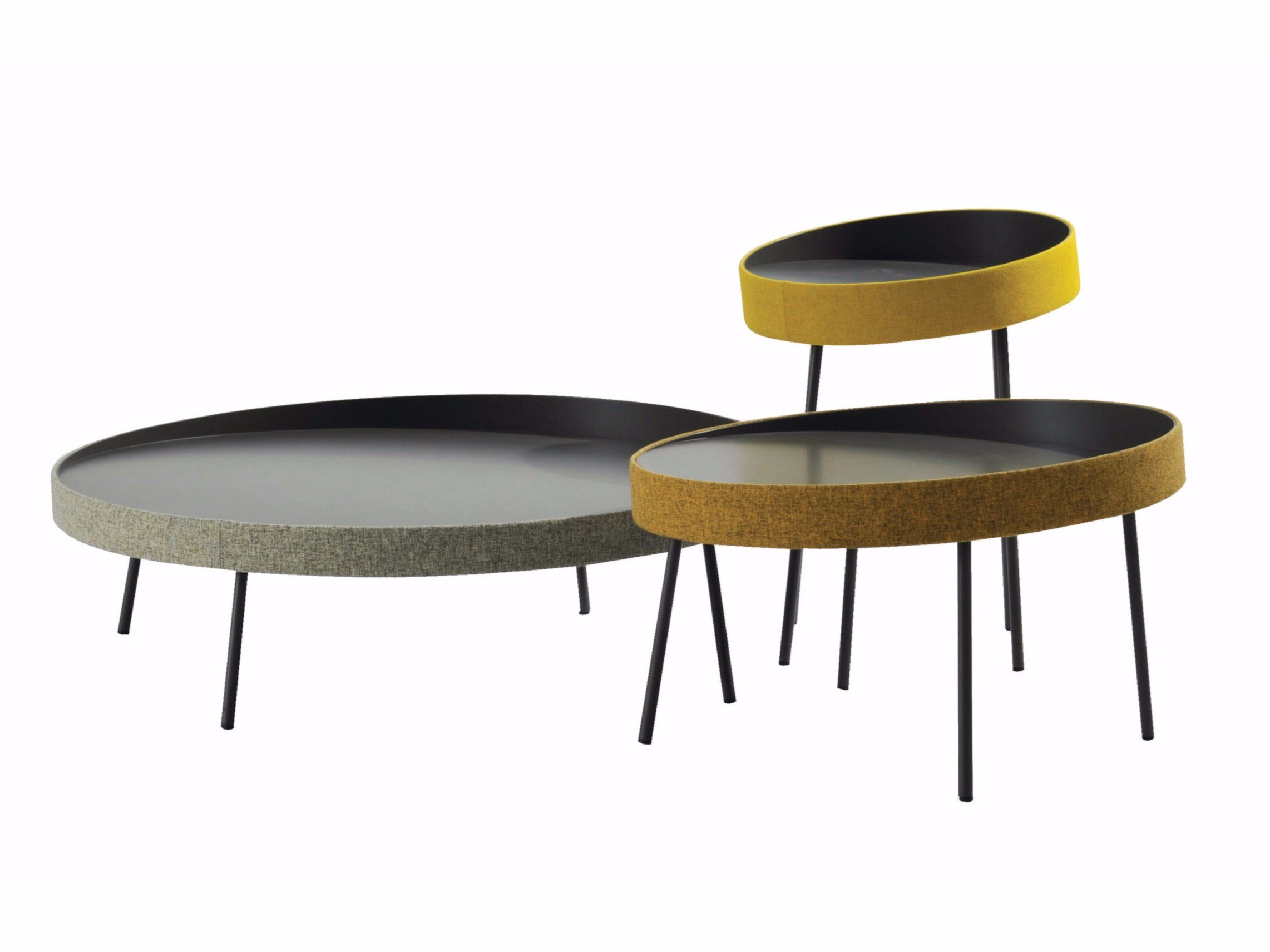 Round aluminium and wood coffee table BOW By ROCHE BOBOIS design