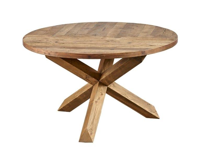 Tavolo da pranzo rotondo in legno di recupero DB004133 By Dialma Brown