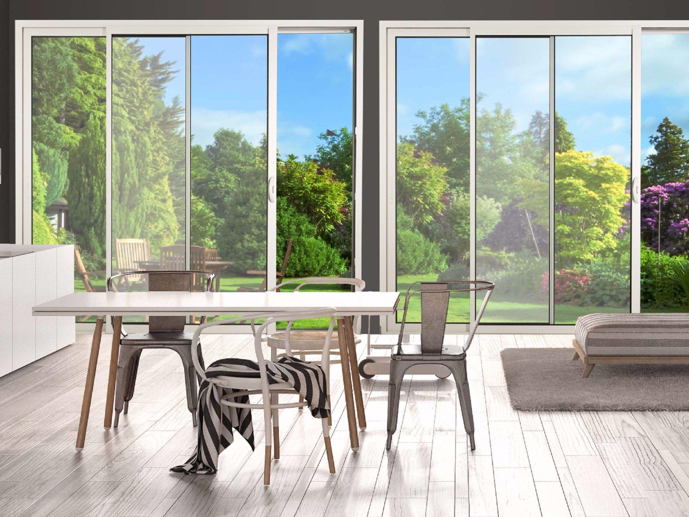 Porta finestra scorrevole in alluminio e vetro con triplo - Finestre triplo vetro ...