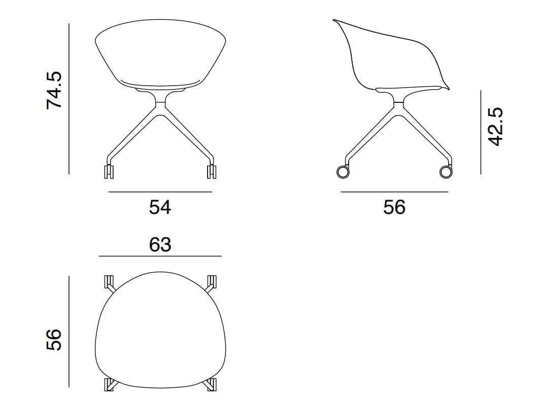 Excellent Duna 02 Chair With Castors Domus Machost Co Dining Chair Design Ideas Machostcouk