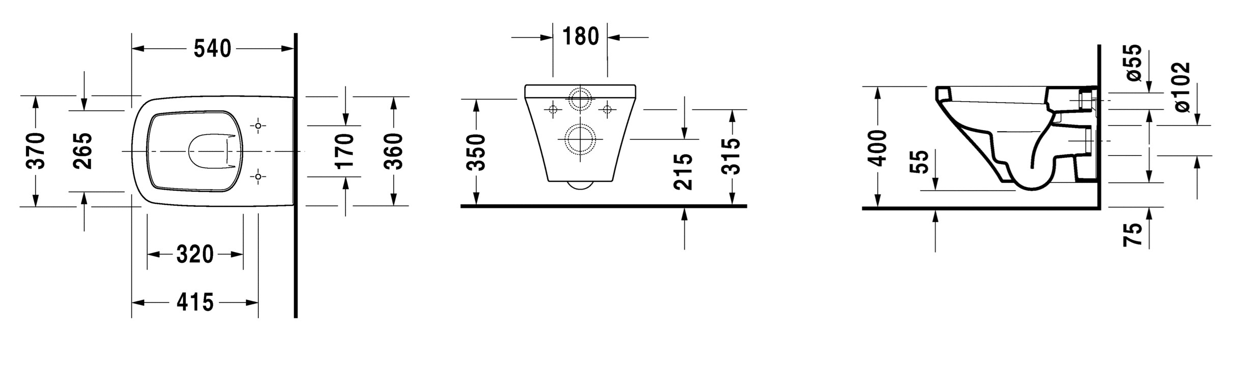 toilet dimensions from wall. Dimensions DURASTYLE  Wall hung toilet By Duravit design Matteo Thun Partners