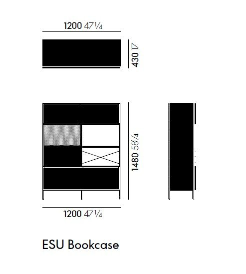 Dimensions EAMES STORAGE UNIT BOOKCASE