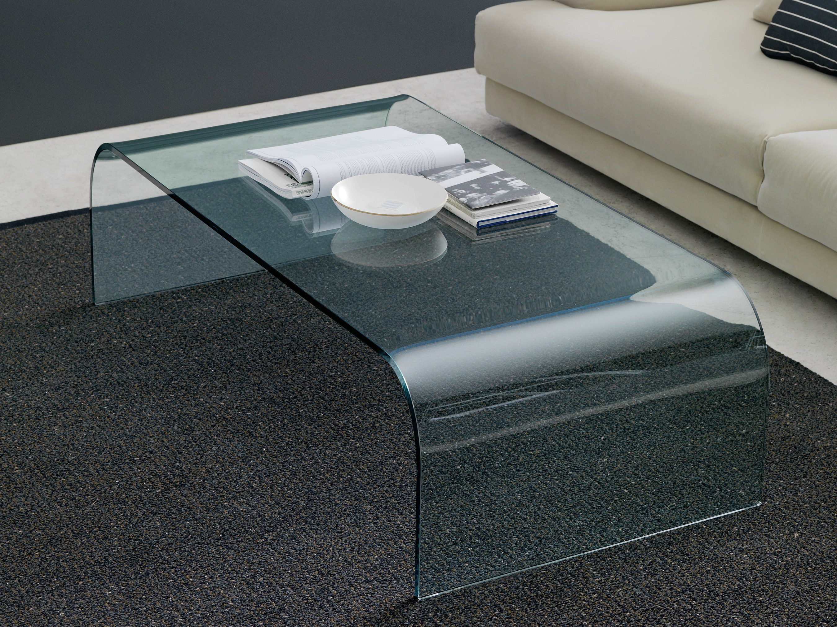 Square float glass coffee table with casters TAVOLO CON RUOTE By ...