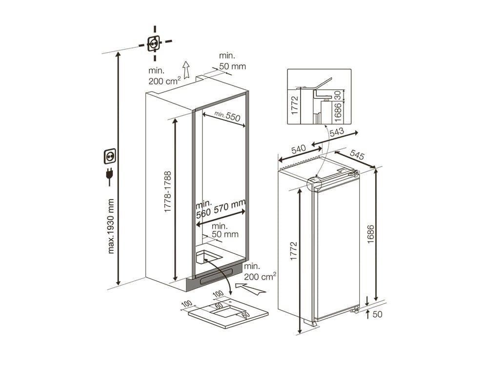 Dimensions GSMI 10610 | Single Door Refrigerator