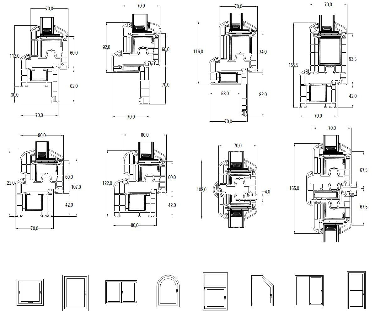 Dimensioni IN'ALPHA70 | Finestra in PVC