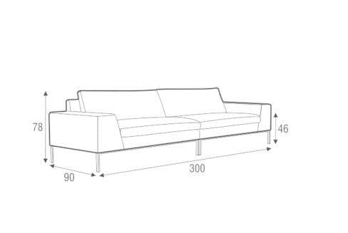 Dimensions JUSTUS | 4 Seater Sofa