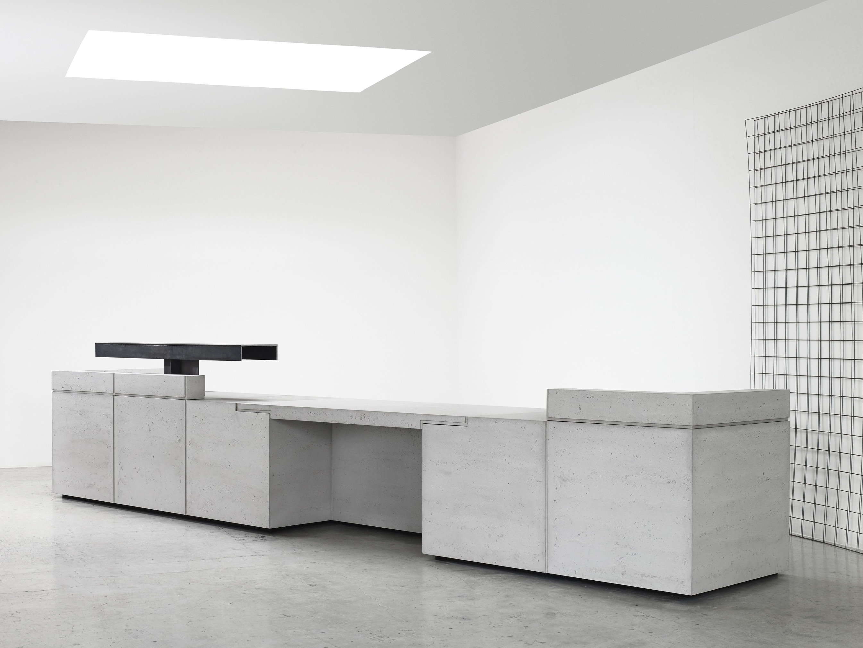 Modular lightweight concrete Office reception desk LINTEL By Isomi