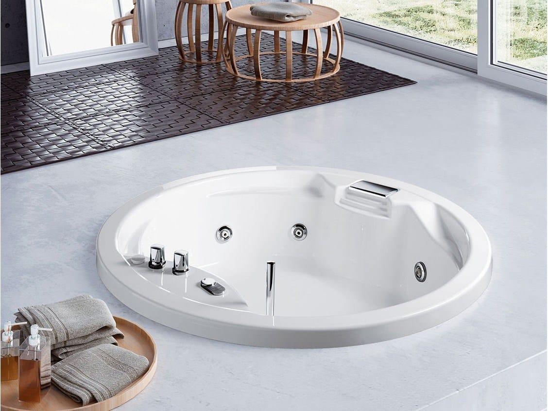 Vasca da bagno idromassaggio rotonda in acrilico lis 150 151 by glass1989 for Vasche da bagno rotonde