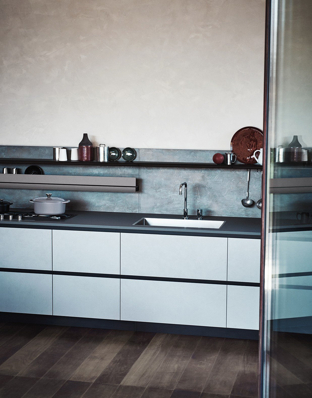 Melamine linear fitted kitchen without handles maxima 2 2 for Cesar arredamenti