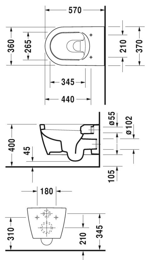 toilet dimensions from wall. Dimensions ME  Wall hung toilet By Duravit design Philippe Starck