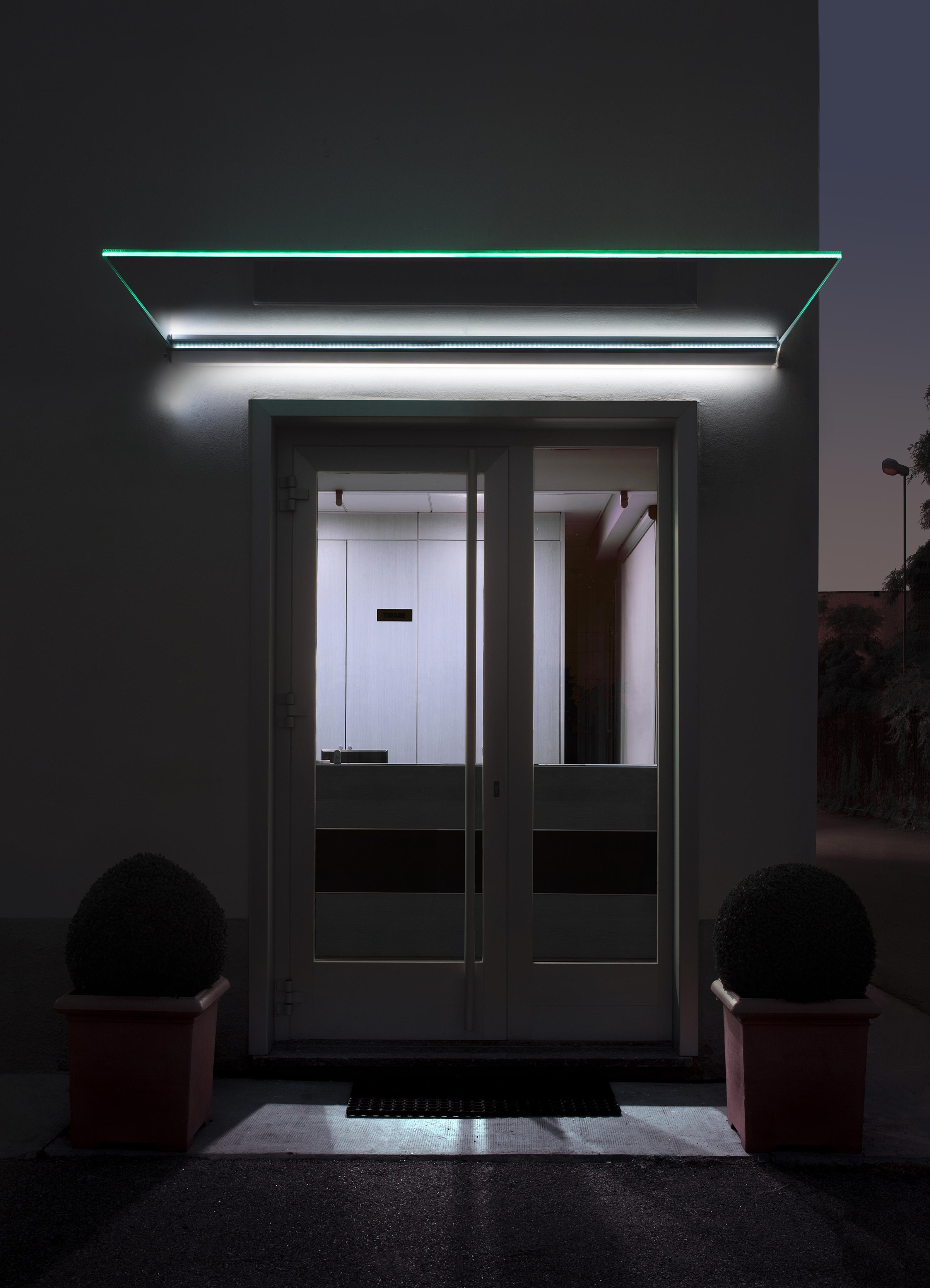 Glass Door Canopy With Built In Lights Mira By Nuova Oxidal