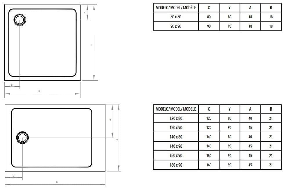 dimension bac de douche latest receveur de douche carr l x l cm grs blanc asca leroy merlin. Black Bedroom Furniture Sets. Home Design Ideas
