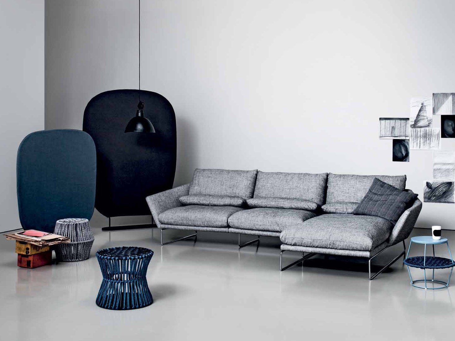New york soft sofa with chaise longue by saba italia - Sofas con chaise longue ...