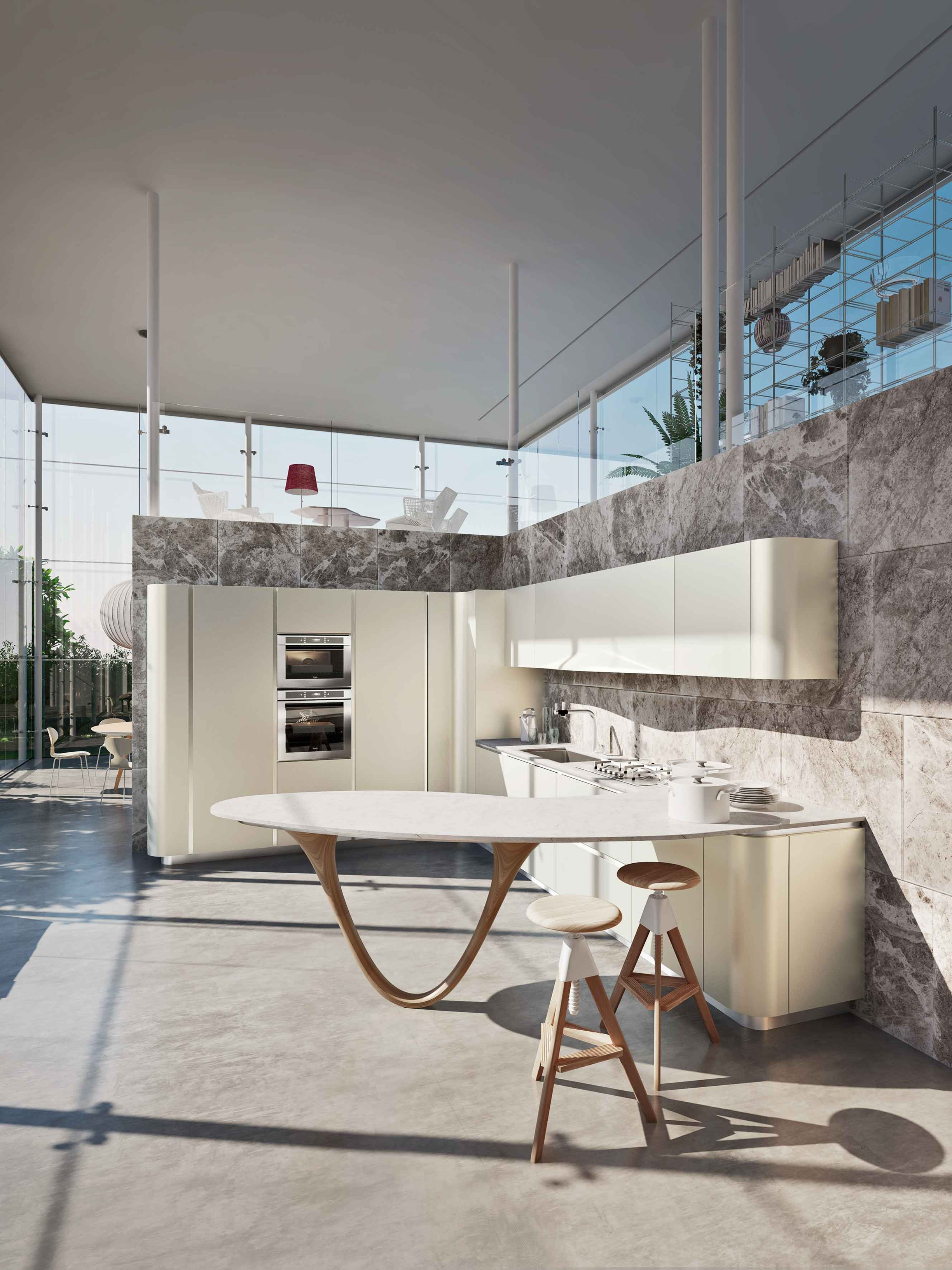 ola 20 kitchen with peninsula icone collection by snaidero design pininfarina. Black Bedroom Furniture Sets. Home Design Ideas