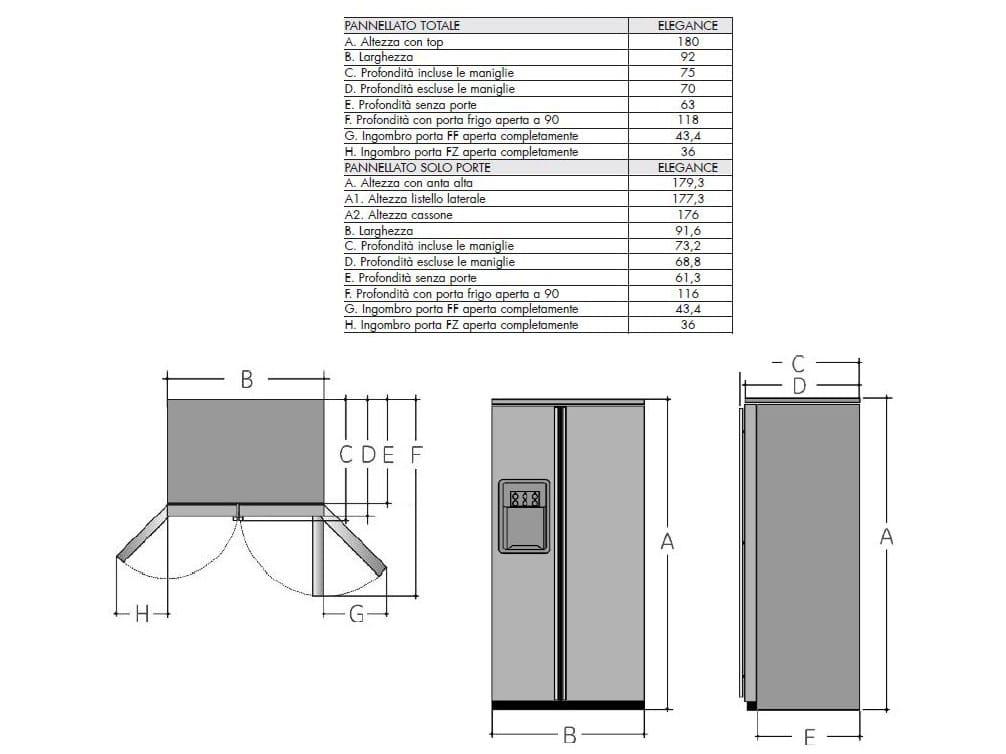 Emejing frigo americano dimensioni gallery - Congelatore piccole dimensioni ...