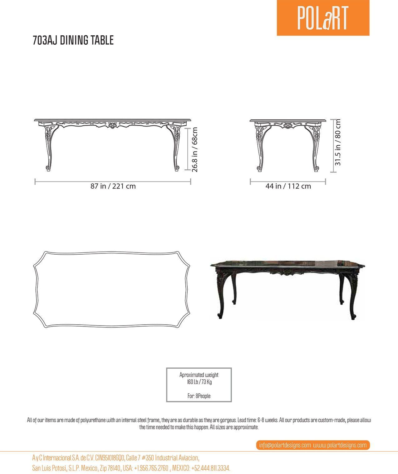 Dimensions POLART   Rectangular Table ...