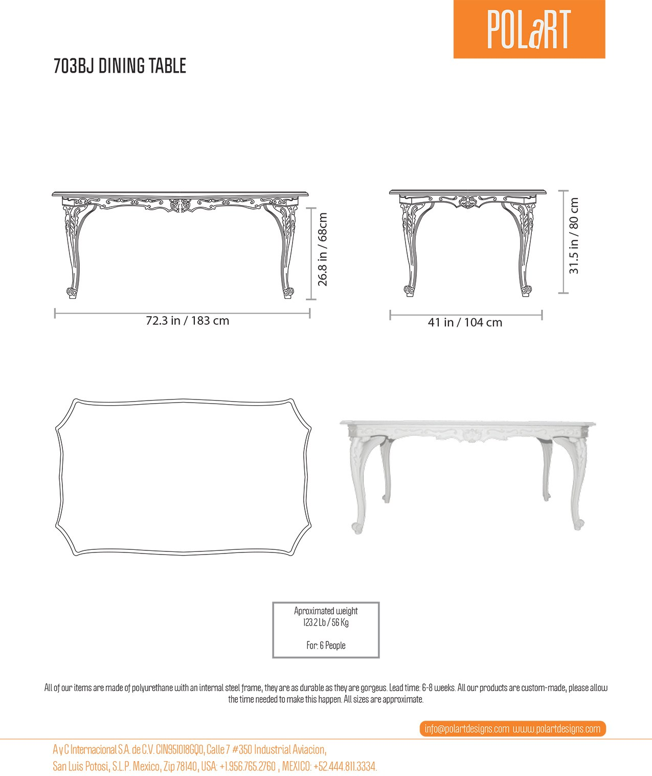 Polart Rectangular Table By Polart # Schema De Meuble Dimension