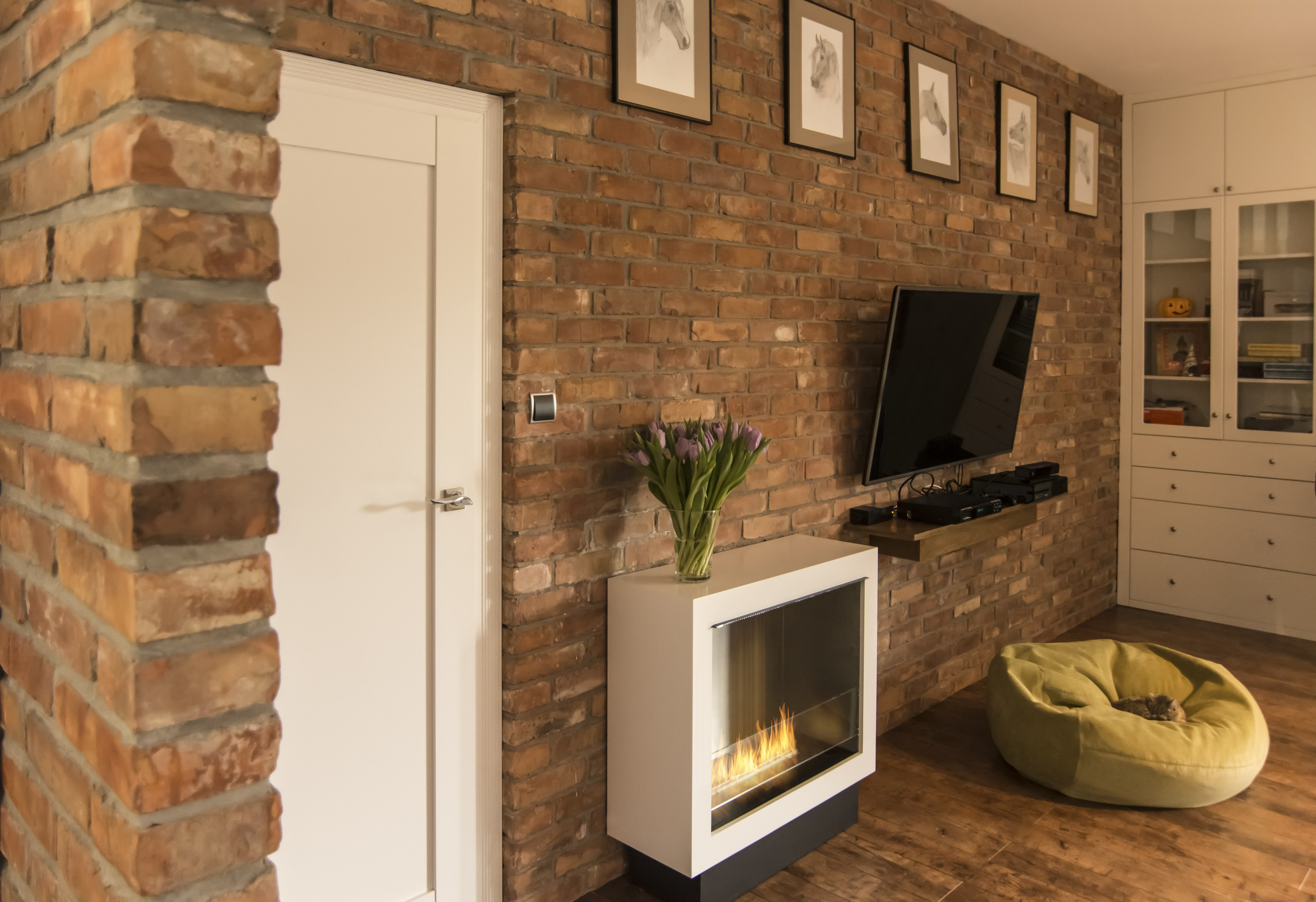 built in fireplace controlled by wi fi and remote control fire