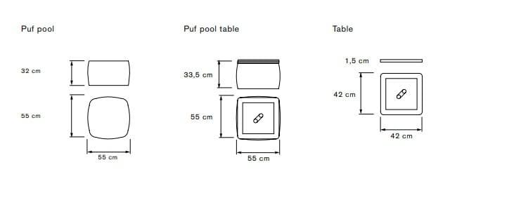 Dimensioni PUF POOL | Tavolino