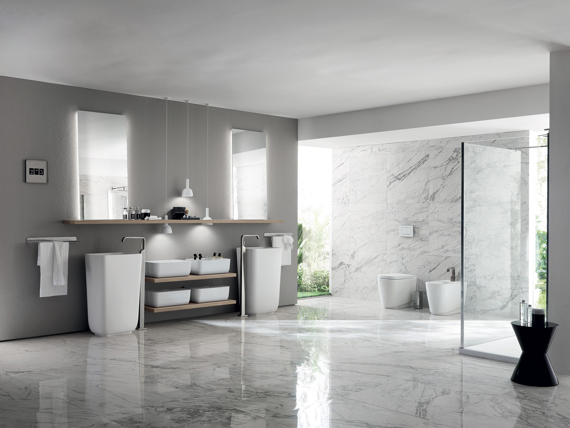 Bathroom furniture set qi by scavolini bathrooms design nendo for Bagno grande
