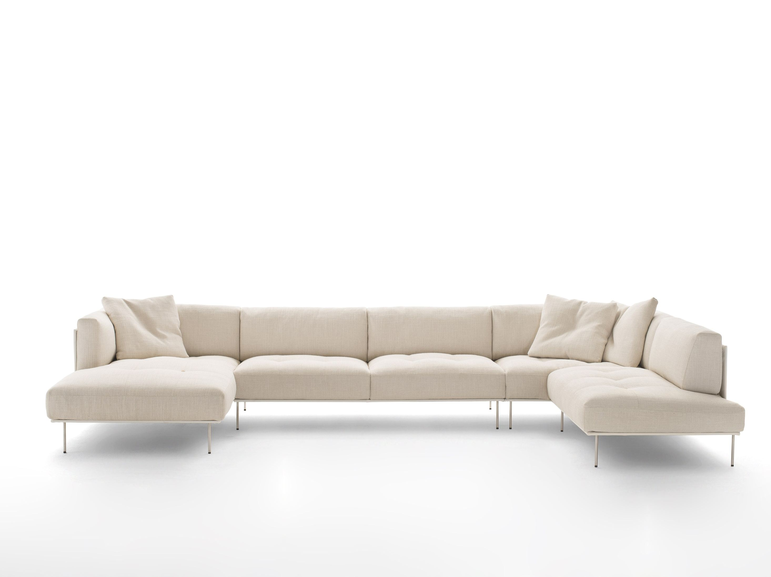 Curved Fabric Sofa With Removable Cover ROD BEAN By Living Divani Design  Piero Lissoni