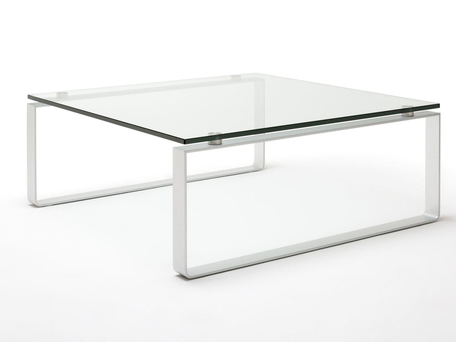 quadratischer couchtisch aus stahl und glas mit. Black Bedroom Furniture Sets. Home Design Ideas