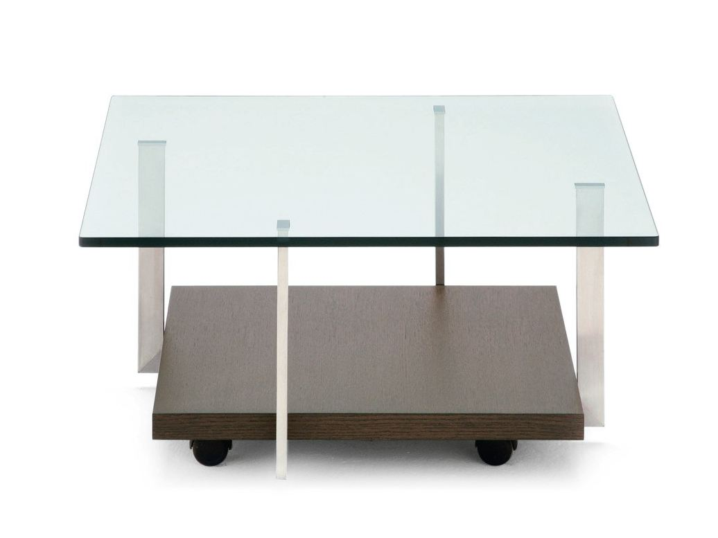 square float glass coffee table with casters tavolo con ruote by