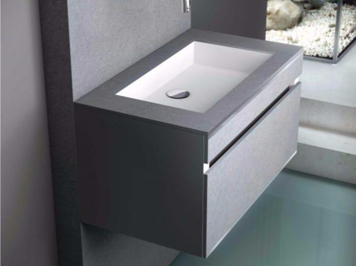 mobile lavabo sospeso con cassetti con specchio slate 05 by fiora - Fiora Arredo Bagno
