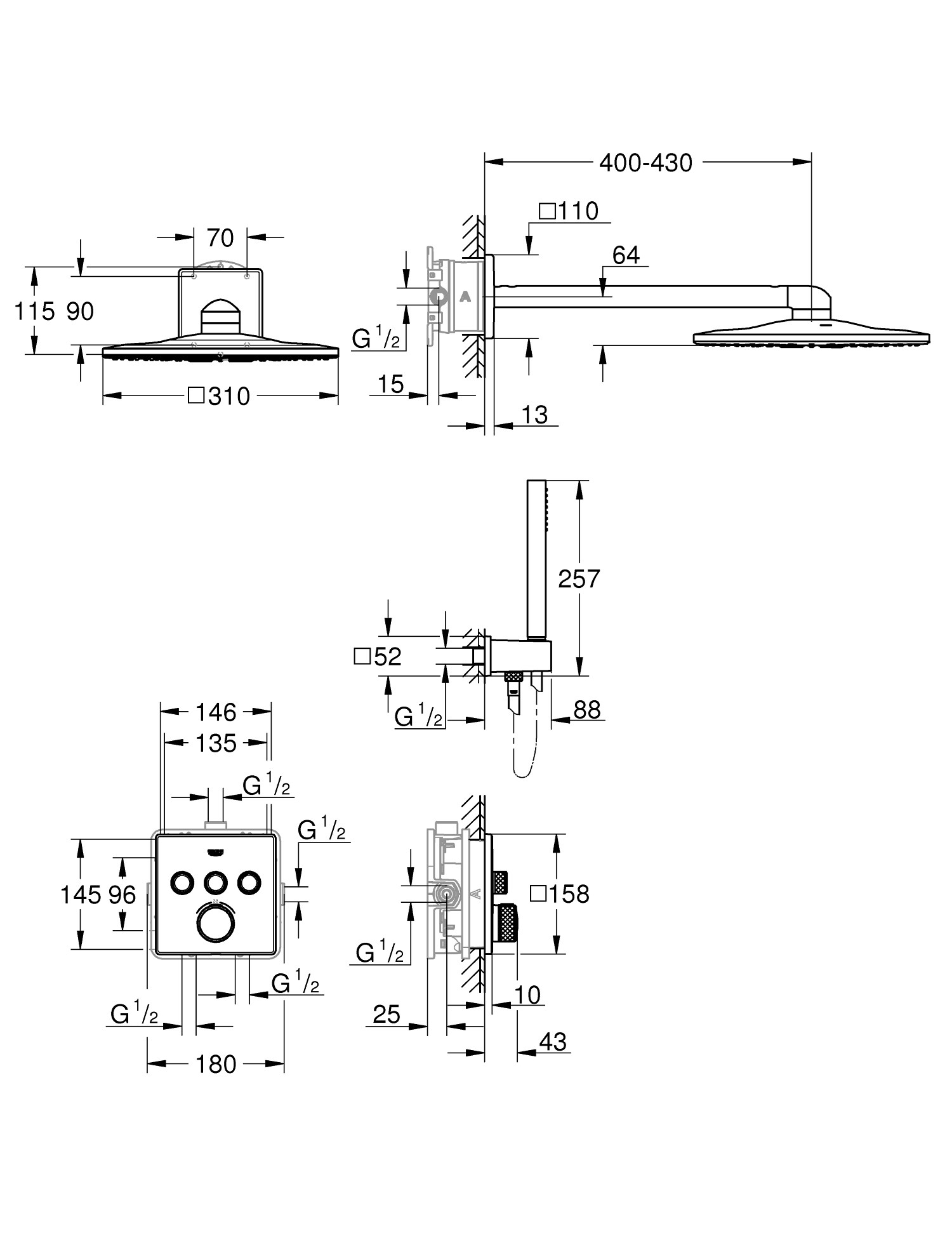 Smartcontrol 34706000 Shower Set Collection By Grohe Hose Repair Diagram Free Download Wiring Diagrams Pictures Dimensions
