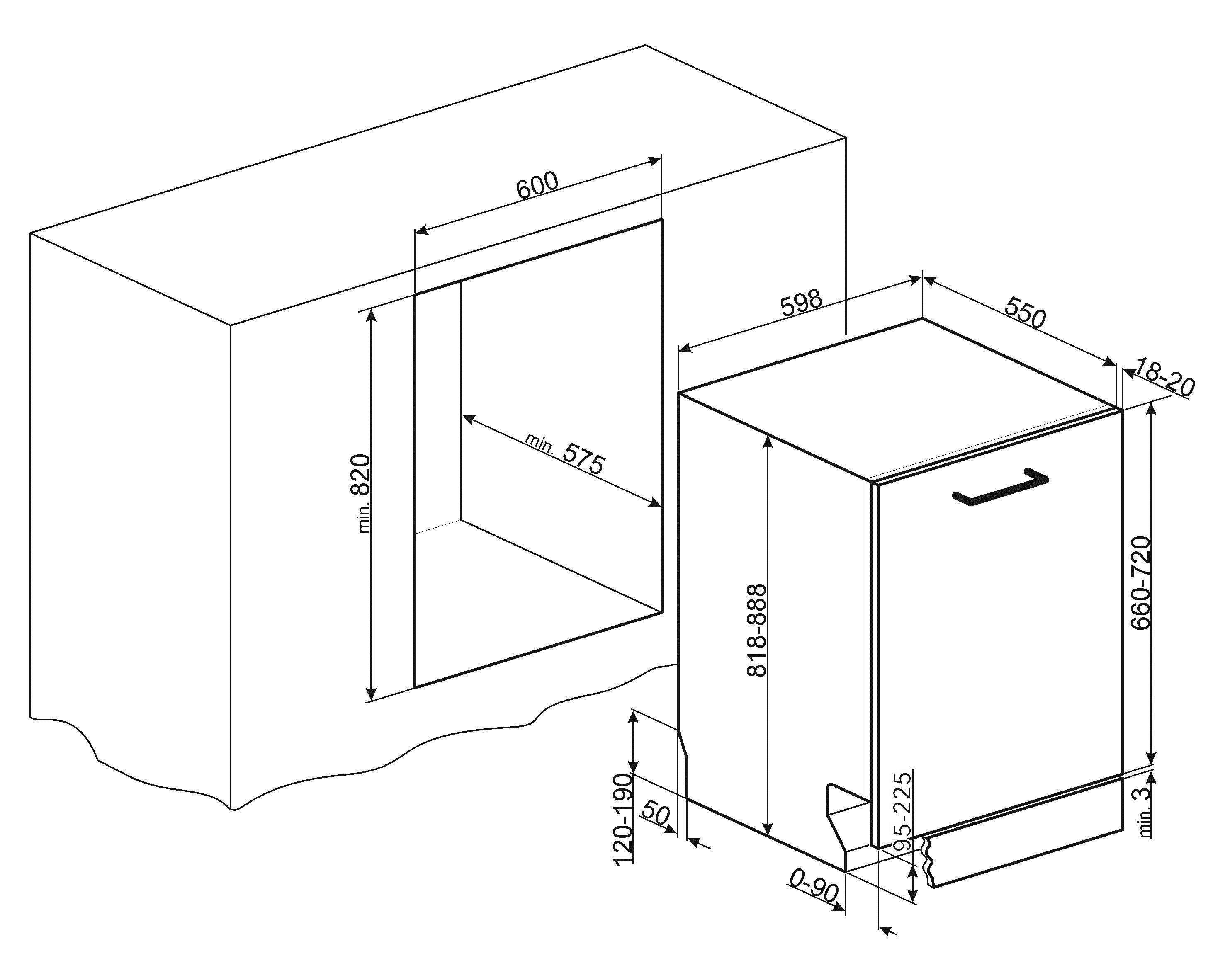 Dimensioni STA6539L3 | Lavastoviglie Classe A++ ...